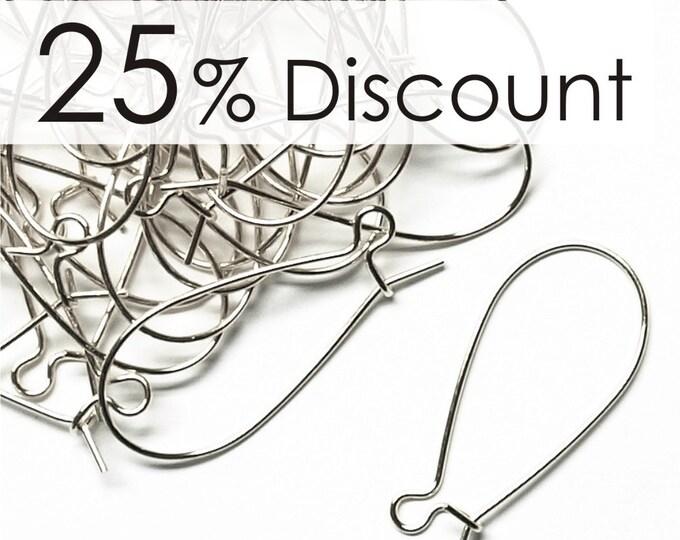 EWBSP-kd30 - Earwire, Kidney Medium, Silver - 100 Pieces (10pk)