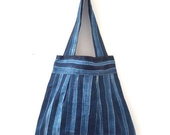 Green Batik Tote Bag, Summer tote, Adire shoulder bag