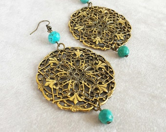 Turquoise Moroccan antique brass filigree earrings, Bohemian Earrings, Boho earrings, Ethnic Earrings, Exotic earrings, gift for her,
