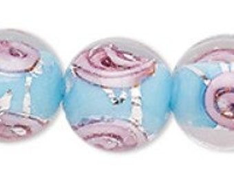 Adorable Lampwork Transparent Clear and Opaque Multicolored Round Beads with Roses 12mm 6pcs