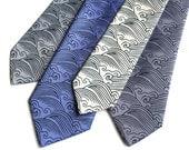 Crashing Waves necktie. Japanese textile motif inspired men's tie. Silkscreen print on navy, periwinkle, steel blue and more!