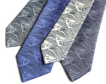 Crashing Waves necktie. Japanese textile motif inspired men's tie. Silkscreen print on navy, periwinkle, steel blue and more!