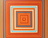 Orange And Turquoise Blue Concentric Squares Wall Art ORIGINAL Acrylic Painting On Canvas 24x24 Modern Art Contemporary Decor