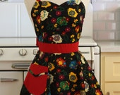 Retro Apron Spanish Style Piggy Banks on Black  - BELLA