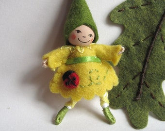 Ladybug Pixie Art Doll Brooch