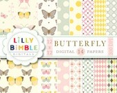 40% off BUTTERFLY Digital Scrapbook Papers Commercial Use Included instant download scrapbooking botanical