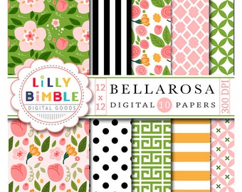 40% off Floral digital scrapbook papers with roses, flowers, buds, leaves modern paper pack Bellarosa INSTANT DOWNLOAD