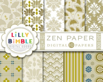 80% off ZEN digital paper in khaki neutral tan, beige, asian, leaves, damask, lotus scrapbook Instant Download
