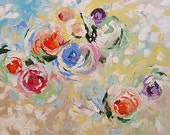 Abstract Floral Acrylic Painting Giclee Print Made To Order Violet Red Pink Roses Impressionist Fine Art Print Wall Decor Linda Monfort