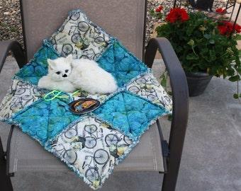 Cat Blanket Cat Bed Cat quilt Cat Accessories Turquoise Cat Bed Fabric Pet Bed Luxury Cat Bed Washable Cat Blanket Bicycle Cat Blanket