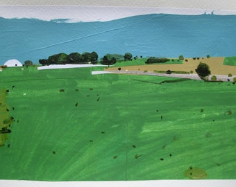 May Breeze, Original Landscape Collage Painting on Paper, Stooshinoff