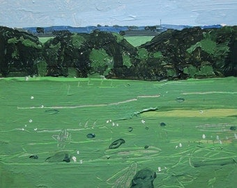 July 4th, Bobby's Field, Original Landscape Painting on Card, Stooshinoff