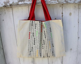 """BBQ Tea Towel Upcycled Tote, 16.75""""x12.75"""", market tote bag, grocery tote bag, library tote bag, barbeque, 100% cotton, tea towel, OOAK"""