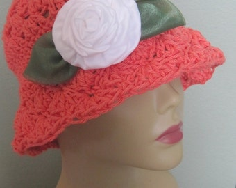 Cotton Cloche Hat Flapper 1920s 20s Bucket Flowers Sun Rose Coral White Fedora Knit Organic Natural