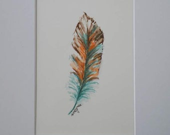 Feather Watercolor Art Original Painting Illustration by Artist Debra Alouise