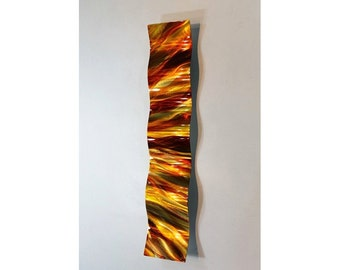 Bright Abstract Metal Wall Art - Modern Decor Wave - Handpainted Contemporary Accent - Sculpture Home Decor - Amber Vortex Wave by Jon Allen