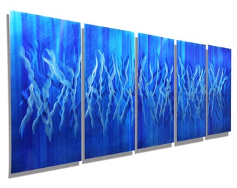 Icy Blue Abstract Metal Wall Painting - Large Modern Metal Art - Wall Sculpture - Handpainted Colorful Home Decor - Frozen by Jon Allen