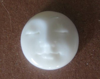 MS  Bone Face Closed Eyes Top  Drilled Button Bead (1)  0.5 inch 13mm (2) Carved Bali Fair Trade
