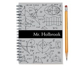 Custom Notepad for a Math Nerd, Math Teacher Gift Idea, Personalized Journal, Math Geek Notebook, Formulas, Number Lover, SKU: math blk