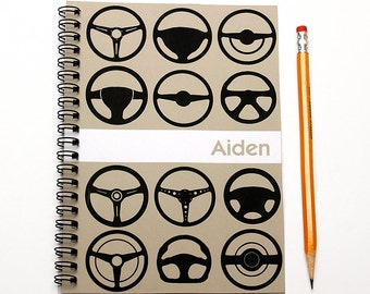 Personalized notebook for a car enthusiast, Father's Day, Mechanic Gift, Car Log, Car Guy, Hot rod wheels, Steering Wheels, SKU: blk sw