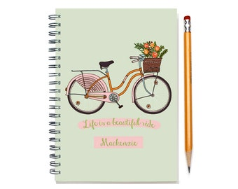 Customized Journal, Custom Notepad, Personal Diary, Add a Name, Personalized Journal, Custom Notebook, Life is a Beautiful Ride, Pink Bike