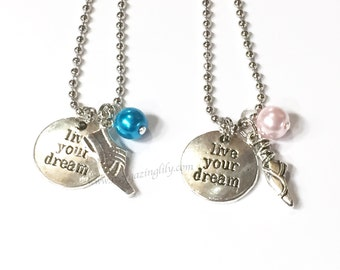 ONE Live Your Dream Charm necklace. YOU CHOOSE charm, pearl color. Motivational Gift. Choose from Hobbies, Activities, and favorite things.