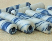 Long Porcelain Tube (1) Handmade in USA: Denim Blue, White, Great for Pens, Wine Stoppers, Letter Openers, Lariats Perfect for Bar Necklaces