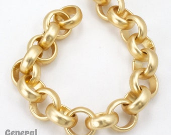 11mm Matte Gold Rolo Chain #CC230
