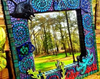 Stingray Manta  Mosaic Art Mirror Handmade One a kind Beach Life