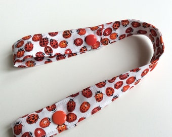 LADYBUGS Toy Tether - Toy Leash - Toy Strap - Sippy Cup Tether - Soother Tether - Baby Toddler Gift - Shower Gift Under 10 dollars