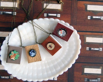 tiny book embellished cover necklace- bibliophile - librarian - reader