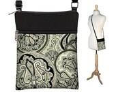 Sling Bag Shoulder Purse Cross Body Bag Small Travel Purse Zipper Fits eReaders  Vintage Paisley Onyx RTS