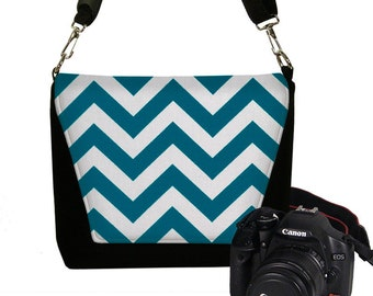 CLEARANCE Peacock Bue Chevron Camera Bag Digital Slr Camera Bag DSLR Camera Bag Purse Womens Camera Bag Case RTS