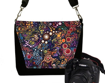 Digital Camera Bag, Women's Camera Bag Water Resistant DSLR Camera Bag Padding Pockets,  Water Repellent colorful dots MTO