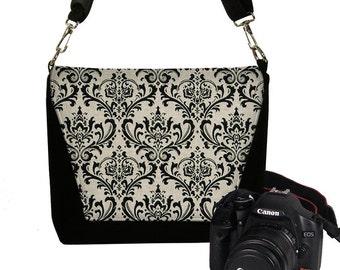 CLEARANCE Dslr Camera Bag Purse Digital SLR Camera Case Womens Camera Bag Black Damask Zipper Pocket  Padded Camera Bag Nikon Canon etc RTS