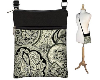 Sling Bag Shoulder Purse Cross Body Bag Small Travel Purse Zipper Fits eReaders  Vintage Paisley Onyx RTS
