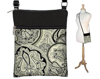 Sling Bag Shoulder Purse Cross Body Bag Small Travel Purse Zipper Fits eReaders  Vintage Paisley Onyx MTO
