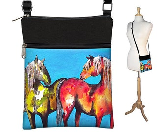 Clara Nilles Sling Bag Shoulder Purse Crossbody Bag Small Travel Purse Zipper - Horses Painted Ponies turquoise red RTS