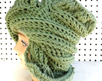 Crochet Hat Womens Hat, Royal Crochet Beanie Hat, Light Sage Green Hat, Sage Hat, Winter Hat, Womens Beanie Hat Women