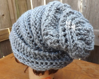 Crochet Hat Womens Hat Trendy,  Womens Crochet Hat,  Crochet Beanie Hat,  Gray Hat,  Gray Crochet Hat,  Ombretta Beanie Hat for Women
