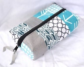 Patchwork Boxy Zipper Pouch - Aqua Navy Gray Arrow