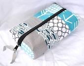 Patchwork Boxy Zipper Pouch - Aqua Navy Gray Arrow