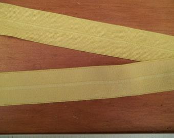 FOLDOVER Elastic Pastel YELLOW 1 inch Matte Plush 5 yds. Headbands Diaper