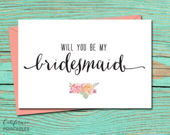Will You be My Bridesmaid PRINTABLE CARD, Wedding Party Invitation, Bridesmaid Proposal, DIY Instant Download Card, Bridesmaid Printable 1