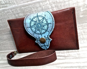 Leather Wallet, Phone Case with Wrist Strap & Zipper Pocket, Brown/ Compass Pattern Print * SALE * Coupon Codes