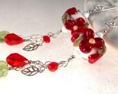 Red Flowers lampwork, Swarovski crystals, green leaf, sterling silver earrings cserpentDesigns