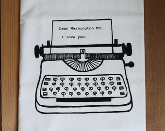 Dear Washington DC, I love you. Kitchen Towel, Tea Towel, Flour Sack Towel- Single