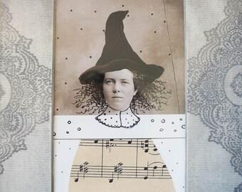 Halloween Witch Art , Original Mixed Media Collage , Ornate Framed Art, Halloween Decor, Halloween Wall Art , Antique Photo