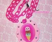 Pink Kawaii Icecream Cameo Rhinestone Necklace