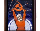 Soviet Space Propaganda Cigarette Case ID Business Card Credit Card Holder Wallet Russian USSR Communism Hammer Sickle Marxism Cold War